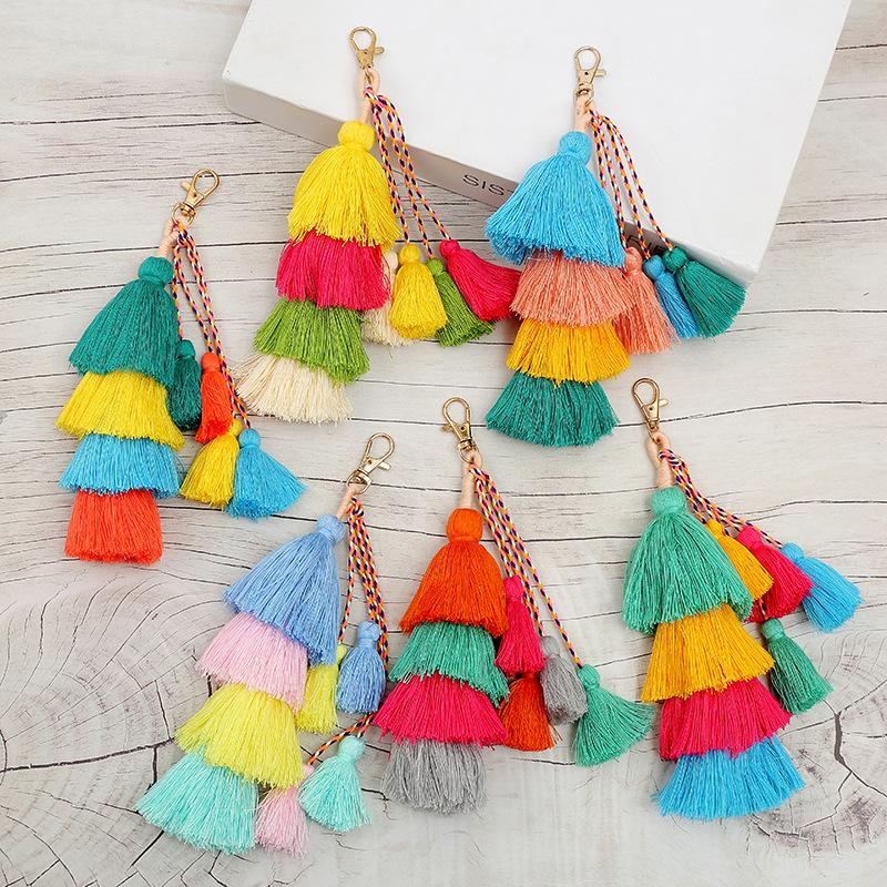 POM colorido 4 camadas tassel keychain Cellphone charme saco encantadores gradiente cores titular chave boho presente de jóias para as mulheres