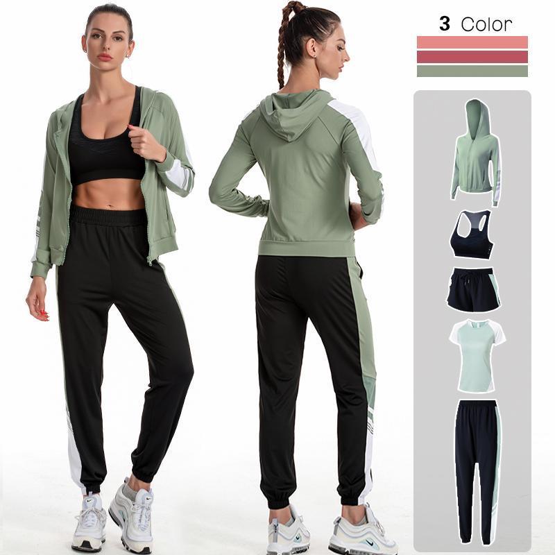 4XL 5 Piezas Mujeres Yoga Establecer Entrenamiento Sportswear Gimnasio Ropa Fitness Manga Larga Crop Top Top Alto Cintura Leggings Sports Trajes