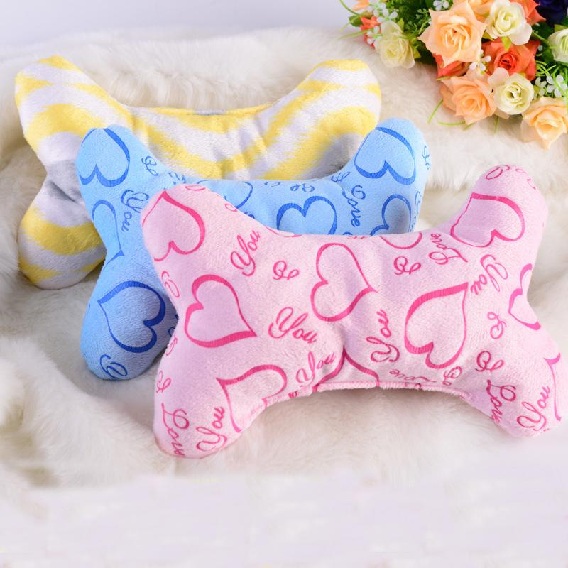 Plush Bone Shape Pet Dog Pillow Cozy Dogs Toys For Small Puppy Toy Pets Shop Supplies dog accessories for small dogs