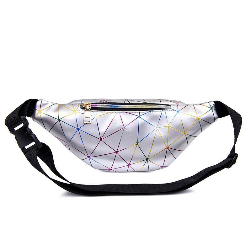 Taille Taschen Frauen Holographische Silber Fanny Pack Gürteltasche Weibliche Laser Brusttelefon Tasche Schwarz Geometrische Luxus-Taillenpackungen