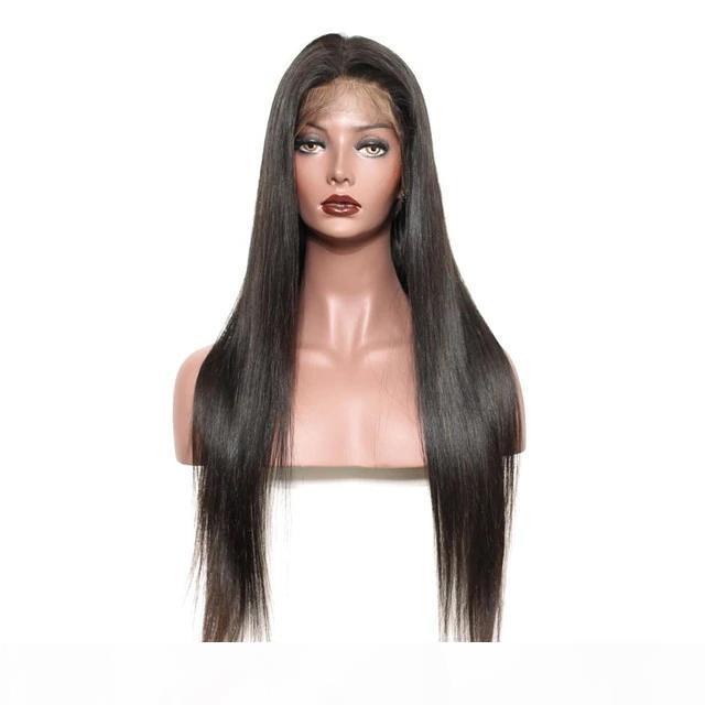 전체 레이스 인간의 머리 가발 레이스 프런트 가발 표백 된 매듭 브라질 레미 헤어 실키 스트레이트 가발 여성을위한 아기 머리를 사전 뽑아