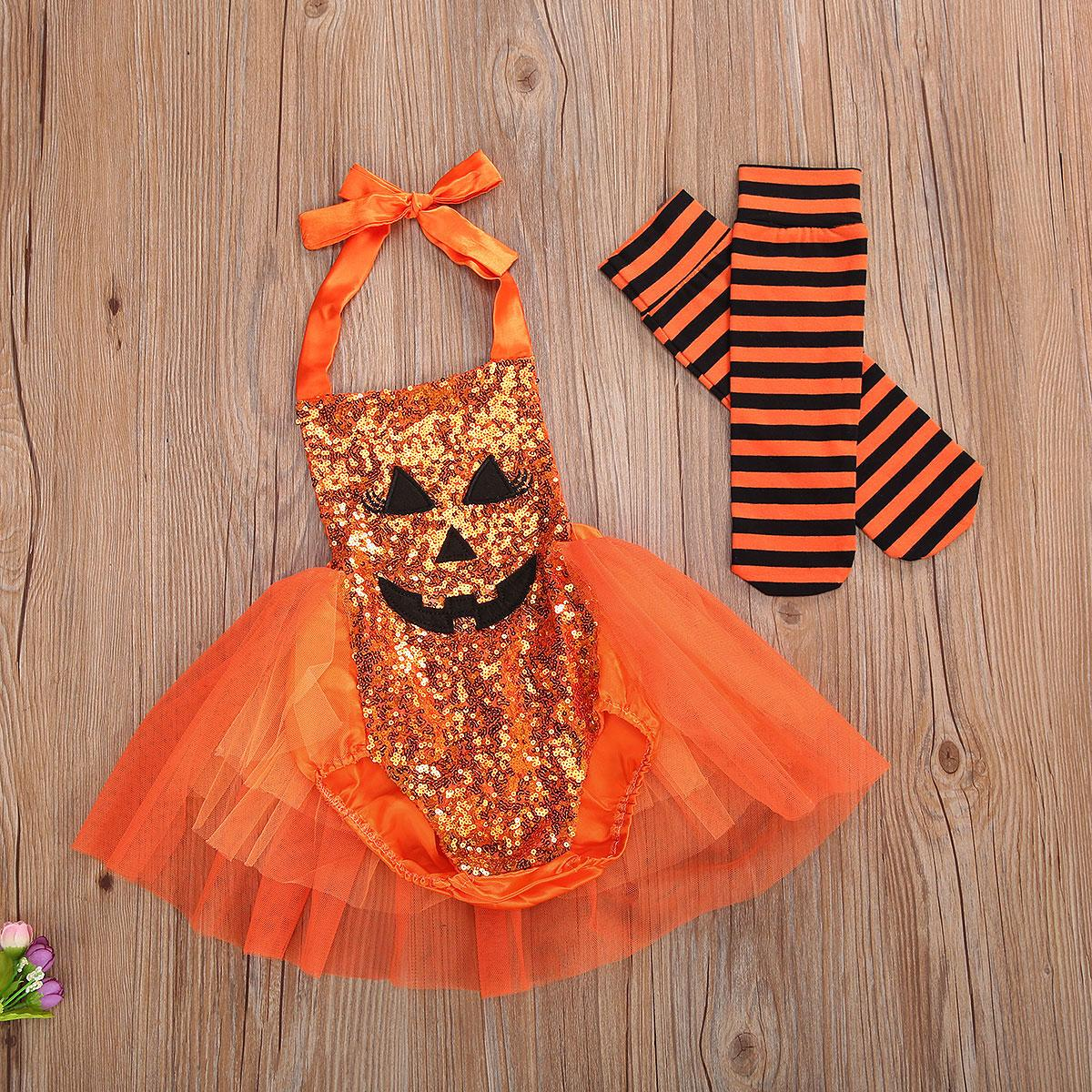 Baby Halloween Kürbis Gesicht Pailletten Halfter Romper Girls Tutu Kleid + Neugeborene Gestreifte Socken Infant 2 stücke Set Festival Outfits