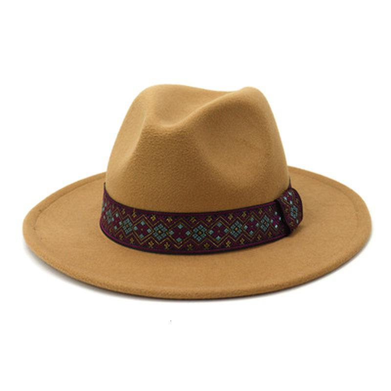 2021 Neue Hüte Wide Ribliothek Feste Farbe Band Gürtel Elegante Gefilzte Fedora Vintage Dame Formale Panama Hochzeitskirche Winterhut Frauen L9R6