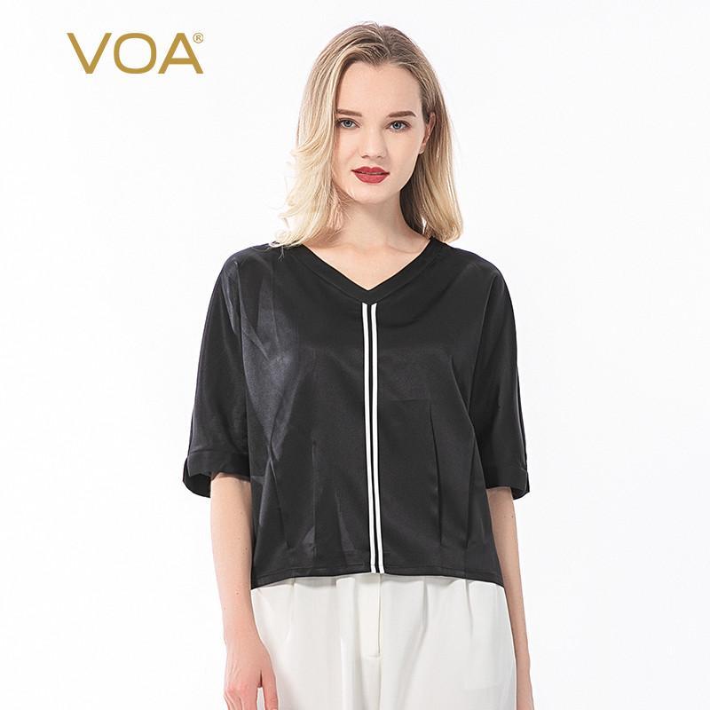 VOA T рубашка 19 м / м Сатин шелк V-образным вырезом контрастный цвет Salvage летучая мышь на полминаж плиссированный дизайн свободных топов плюс мода b006b06