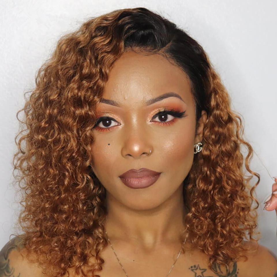 Ombre Profond Curly 13 * 4 Dentelle Perruque frontale Brésilienne Human Cheveux Humain Bob DeepCurlywig Perruques de Laceclosure pour femmes noires