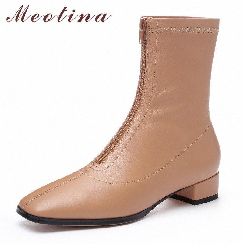 Meotina Kış Ayak Bileği Çizmeler Kadın Doğal Hakiki Deri Blok Topuklu Kısa Çizmeler Fermuar Kare Toe Ayakkabı Lady Sonbahar Boyutu 34 39 Mens L 8303 #