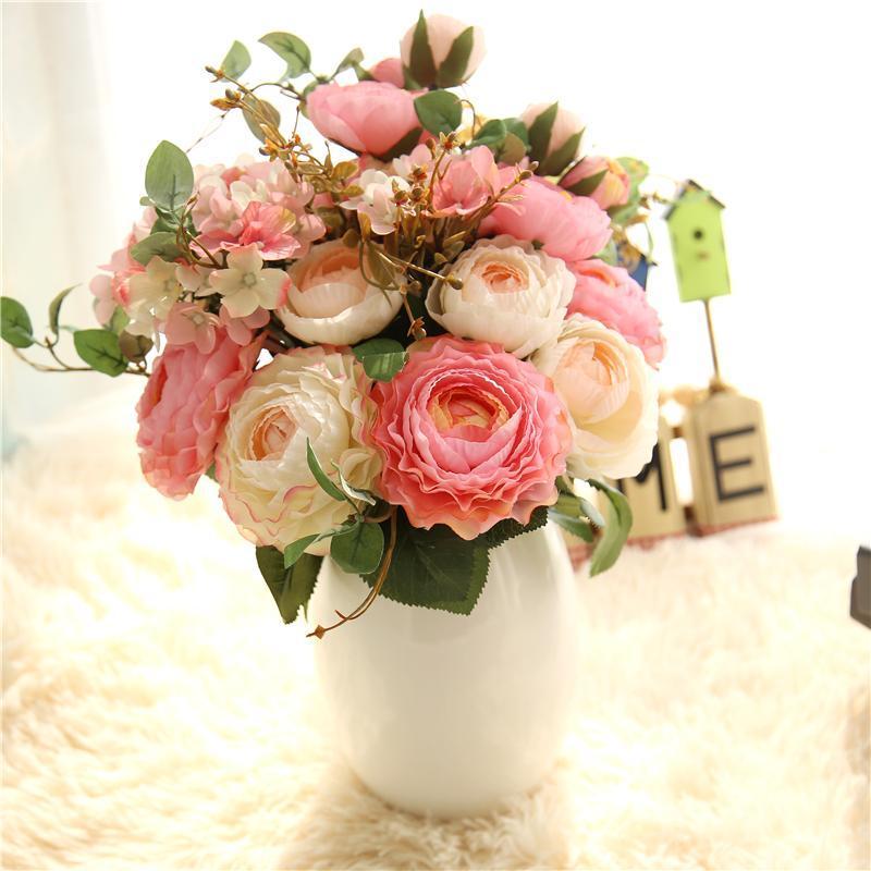 웨딩 홈 파티 장식에 대 한 인공 꽃 부케 축제 랜드 로터스 인공 꽃 모란 DIY 가짜 실크 꽃