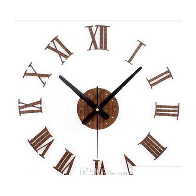 Старинные деревянные текстуры 3d римские цифры, домашние украшения настенные часы, стикер древесины домой декабря Jlltqz Insyard