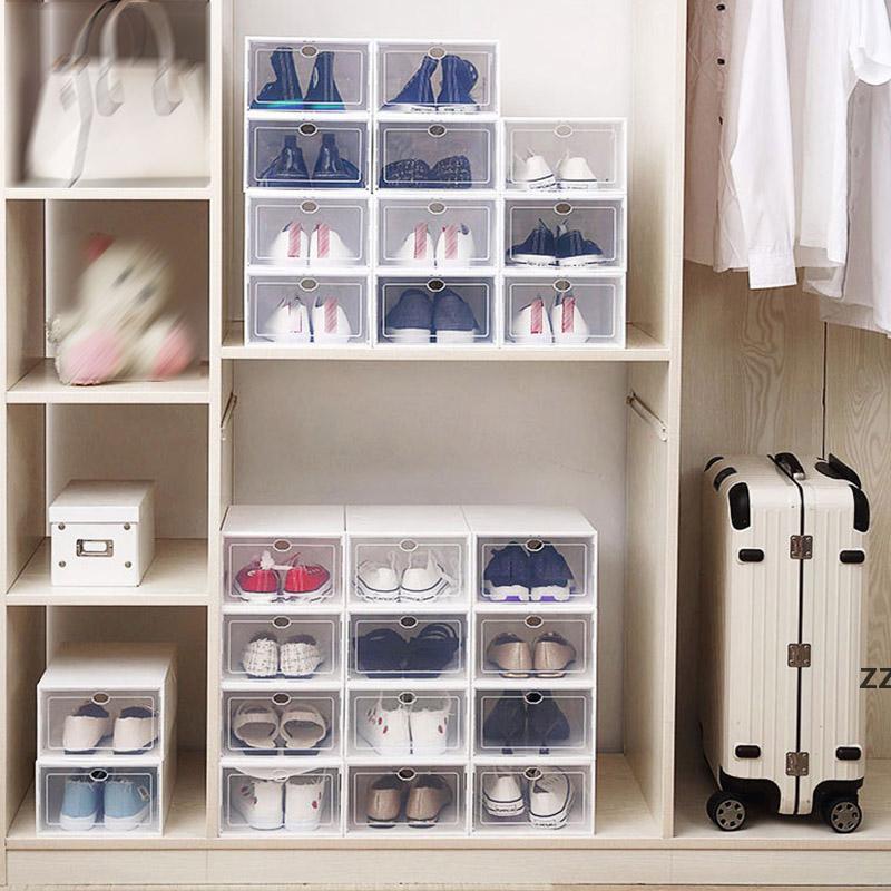 Klare Multicolor-Schuh Aufbewahrungsboxen Faltbar Kunststoff Transparent Home Organizer Stapelbare Anzeige Überlagerungsförmige Kombination Schuhe HWF8847