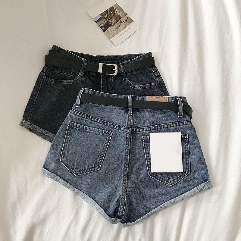 Женские лето 2021 новый простые многосторонние с высоким хвостом протирают трубы горячие шорты с ремень джинсы женские
