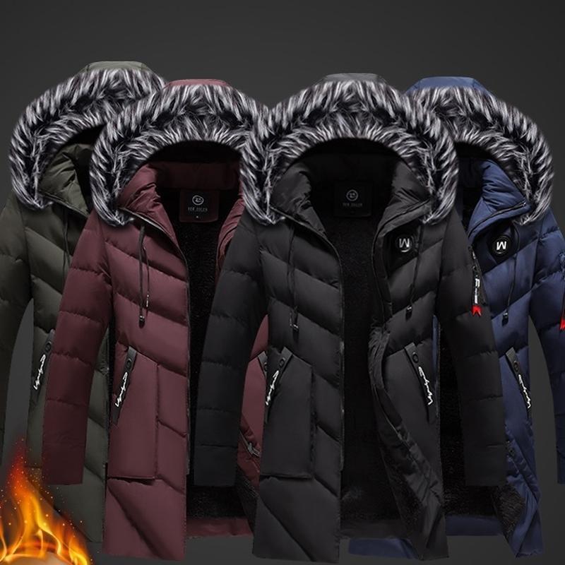 Vestes d'hiver Hommes Couleur Solide Parkas Fourrure À Capuche à manches longues à manches longues Mens de Coton chaud Coton Hight manteau Jacket Slim Ajustement Slim Overcoat 210222