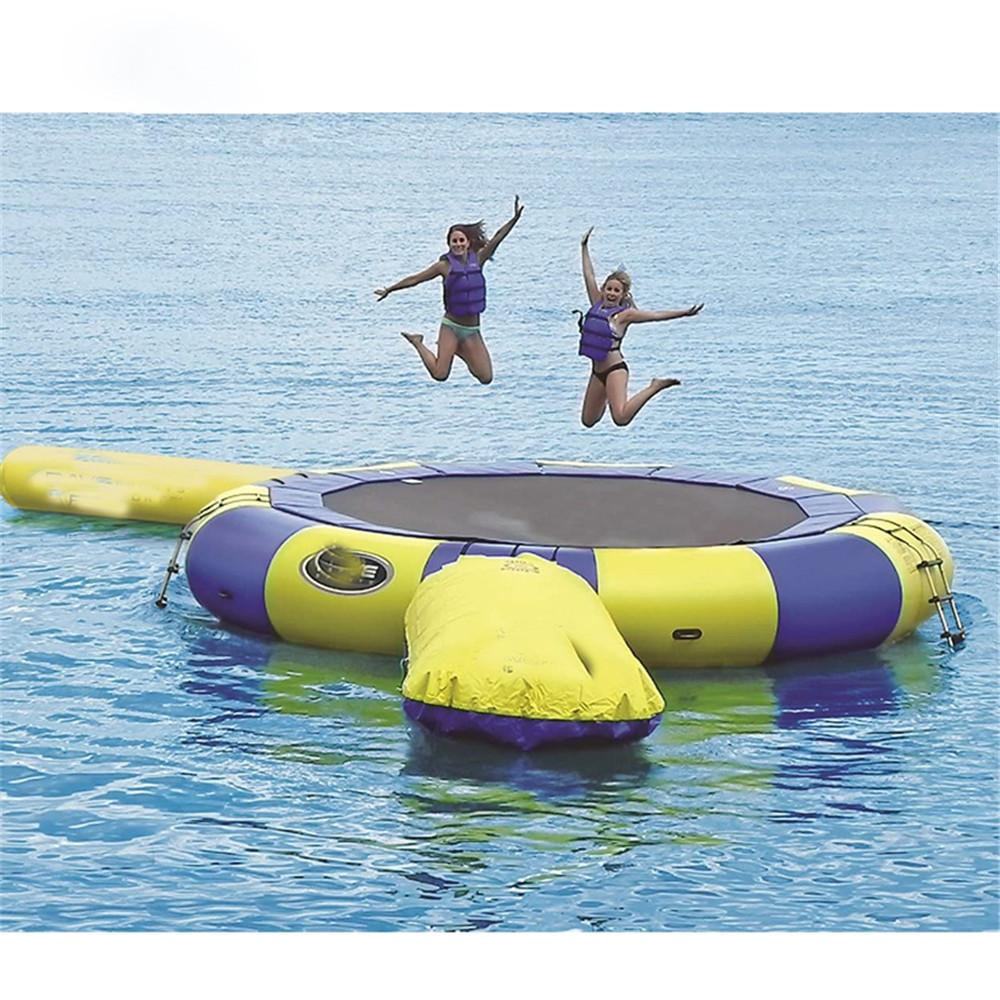 Yellow Blue Inflatable Water Trampoline With Slide Tube Jumping Pillow Bag jump Game bouncers For Ocean Park Games