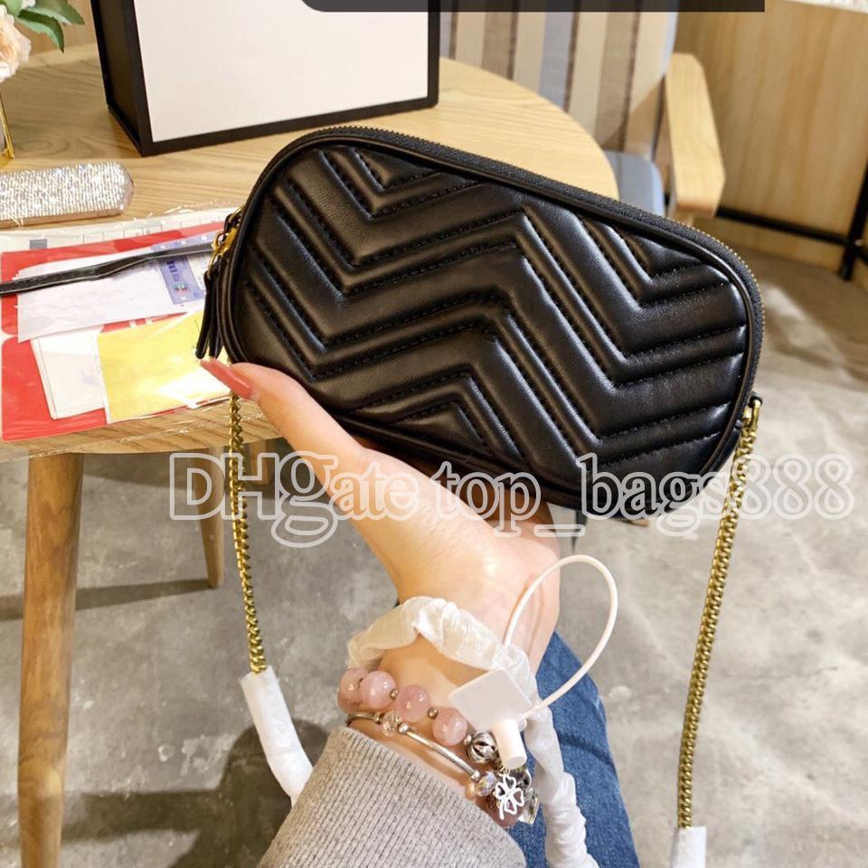 Luxurys Designer Taschen MARMON DISCO Hohe Qualität Echtes Leder Herz geformt gesteppter Schlüsselkoffer 3 Schichten Reißverschluss Münze Geldbörse Wallet Kette Crossbody Schulter Kameratasche