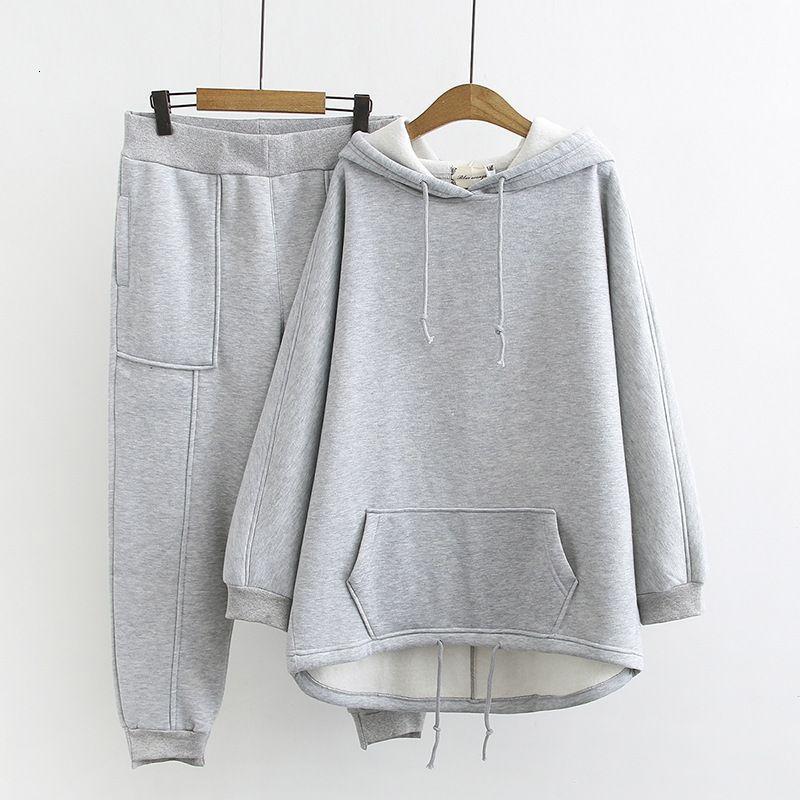 Boyutu kadın artı sonbahar ve kış giysileri, yeni Kore versiyonu ince rahat spor kadife kazak 374g