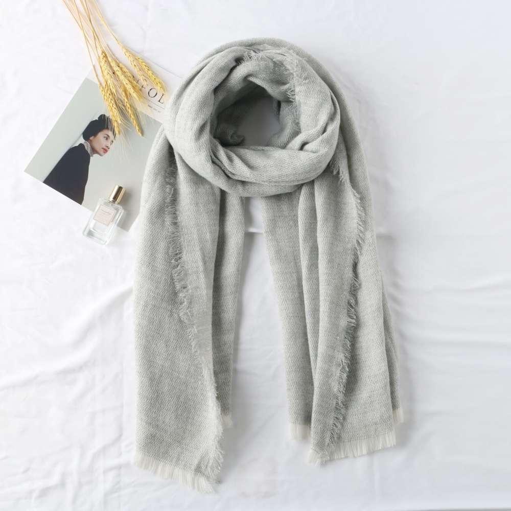 Rectangular gris cálido jacquard babero warp de punto femenino sólido bufanda en primavera e invierno