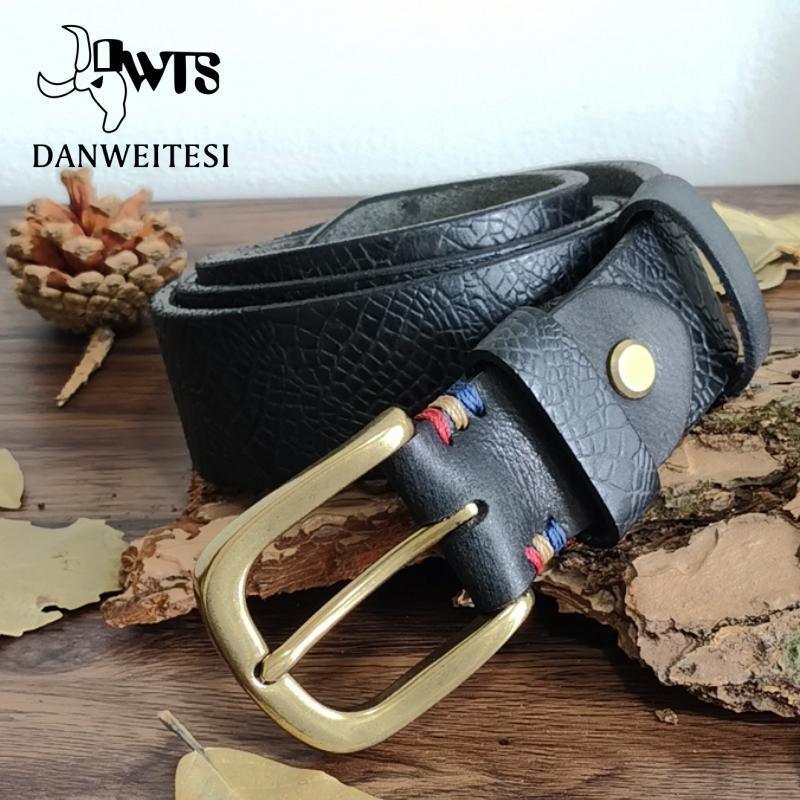 Cinturones [DWTS] Cinturón de cuero genuino Hombres Correa de lujo Moda Masculina Pin Pin salvaje Hebilla En relieve Patrón Decorativo Alta Calidad