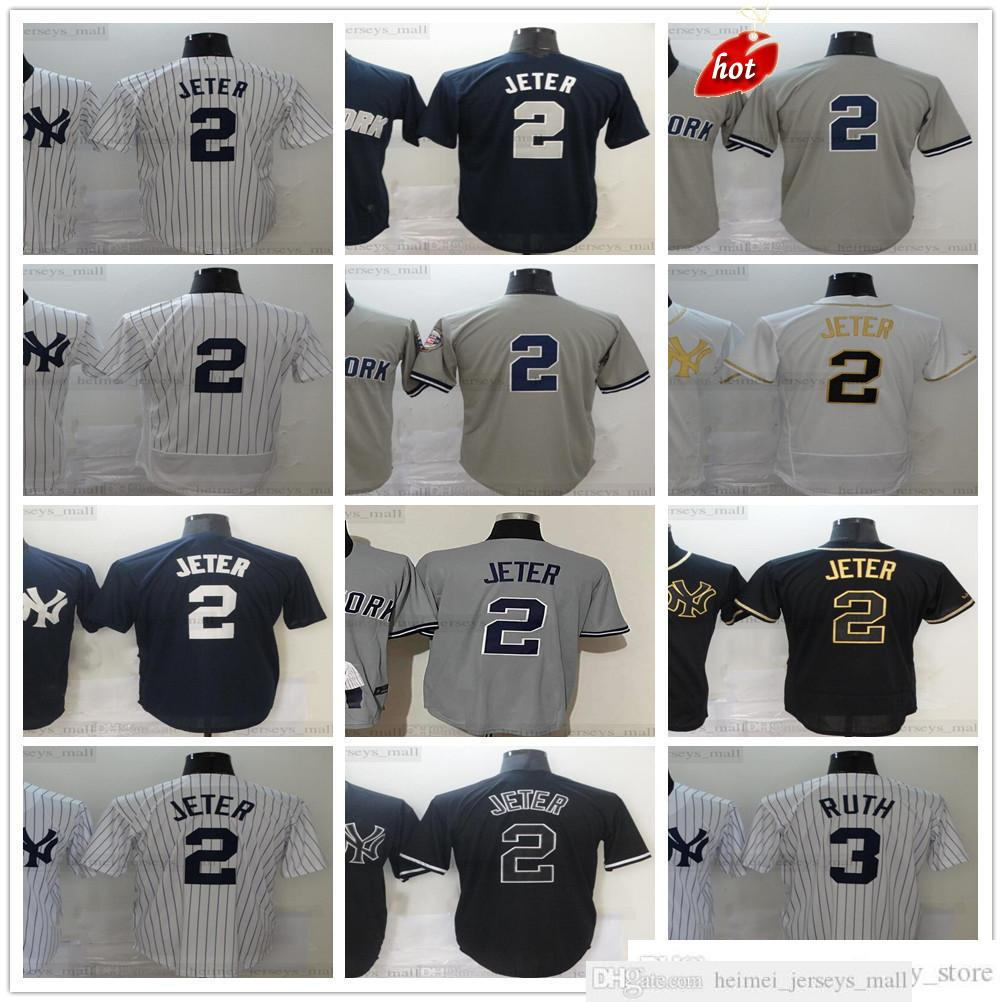 Jersey de béisbol cosido 2 Jeter 3 Babe Derek Ruth Gehrig 4 Lou Jerseys Top Calidad Negro Blanco Oro Gris Gris Mujeres Mujeres Jóvenes Niños