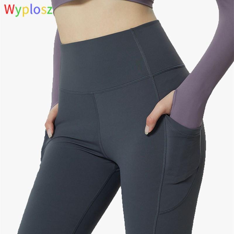 Wyplosz Leggings High Wist Yoga Брюки спортивные йоги колготки толчок бегущей тренировки карманный тренажерный зал одежда леггинсы спортивные женщины фитнес