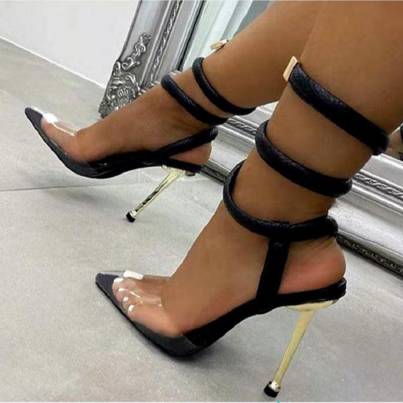 Сандалии Летние Женщины Высокие каблуки Прозрачные Заостренные Ножные Детские Женские Вечеринки Брелок Гладиатор Свадебные Обувь
