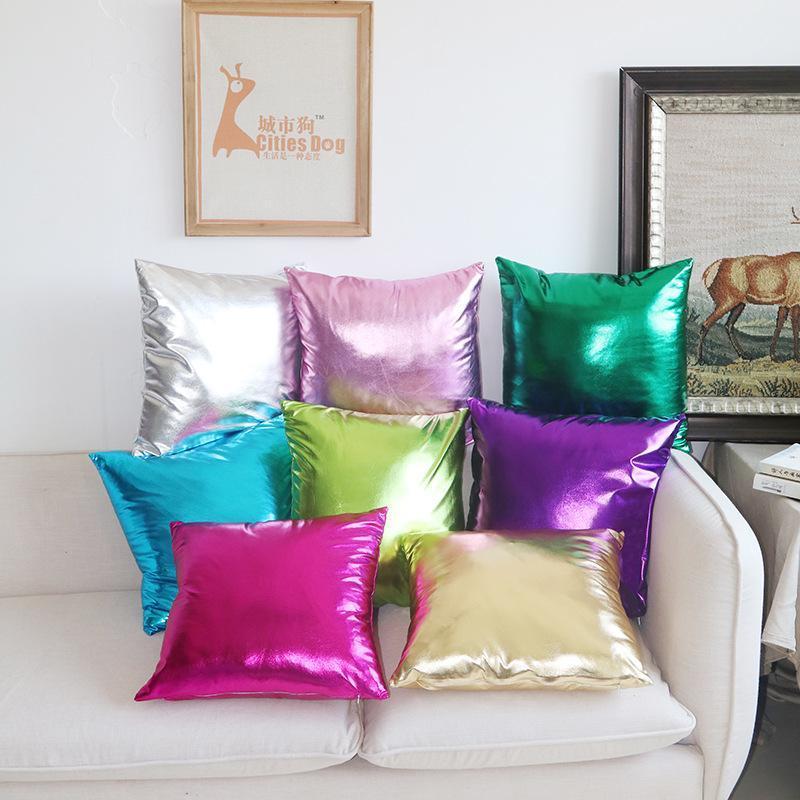Cojín / almohada decorativa 2021 Funda brillante sólida Cubiertas de cojín brillante decorativo para Sofá de fiesta Decoración para el hogar Funda de almohada con chispa 45x45cm