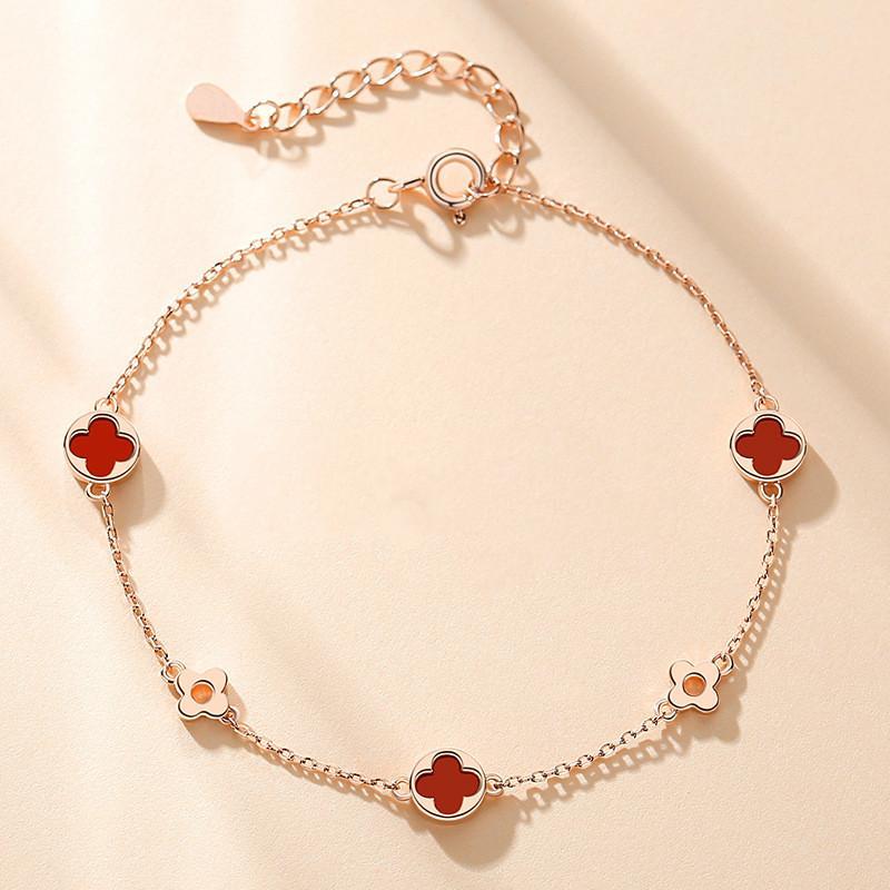 S925 Agate Bracelet trèfle à quatre feuilles Femelle Sterling Sterling Insdic Bracelet Girlfriends Simple et froid Style Bijoux Tendance