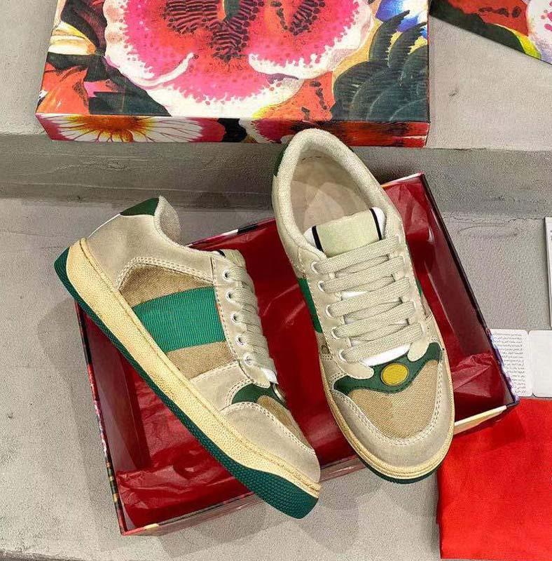 Clássicos Qualidade Couro Homens Mulheres Sneakers Luxurys Designers Sapatos Estilista Lates Lace Up Sneaker Borracha Baixa Plataforma Baixa Plataforma Tapeçaria Home011 16