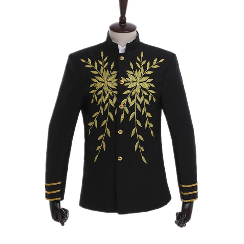 Chinese Style Golden Leaves Embroidery Pattern Male Fashion Slim Fit Single-breasted Suits Men Chorus Performance Blaser Jacket
