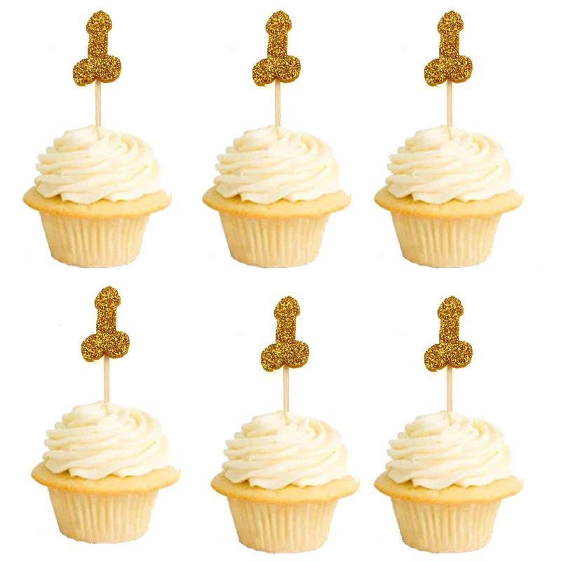 12 unids brillo Willy Penis Cake Cupcake Topper Favor de la boda Hen Party Bachelorette Recolección de adultos Sexo para adultos Chica Noche Suministros de fiesta