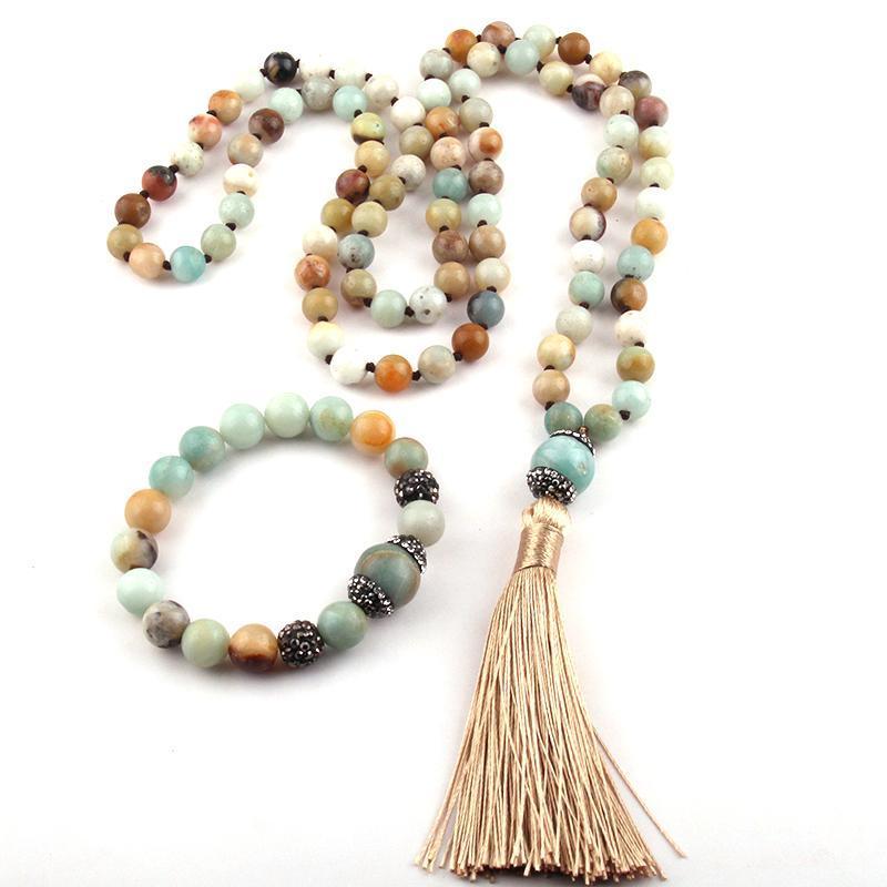 Free Shipping Fashion Bohemian Tribal Jewelry Natural Stones Knotted Handmake Paved Stone Tassel Necklace Bracelet set