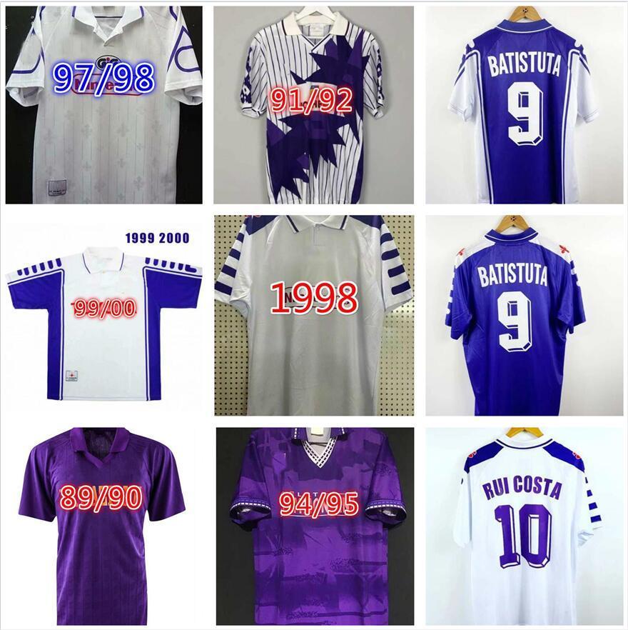 1992 1993 1998 1999 2000 Fiorentina 레트로 축구 유니폼 89 90 92 93 95 96 멀리 화이트 홈 보라색 가브리엘 축구 셔츠 Batistuta 유니폼 빈티지 Maglia Da Calcio
