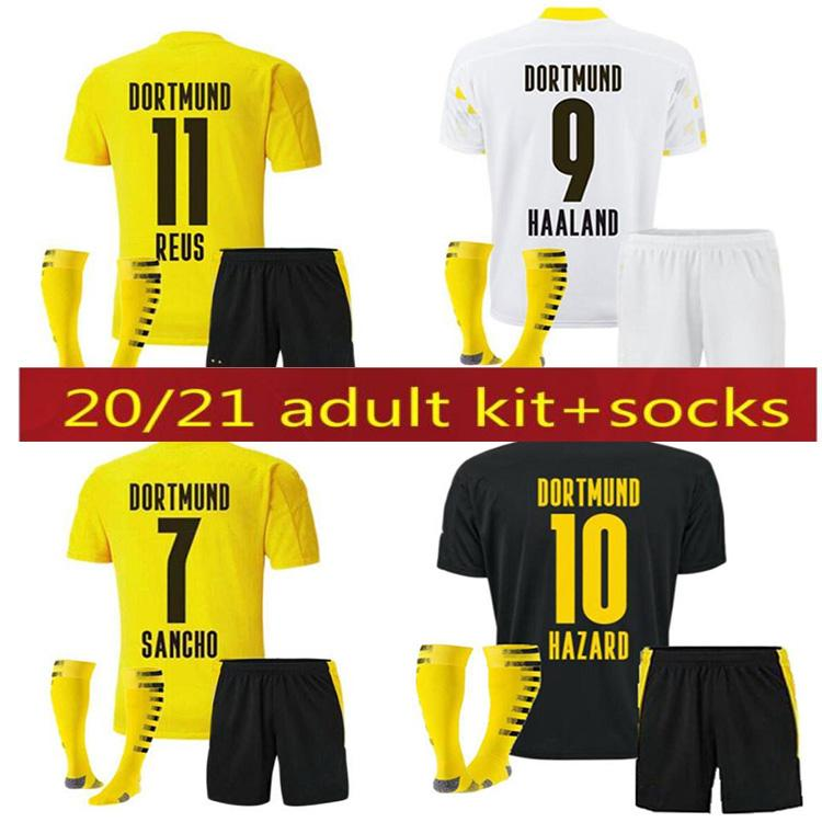 20 21 Borussia Haaland Reus Dortmund Soccer Jerseys 2021 Hummels Brandt Shirt de football Hommes Kids Socks Kit Uniformes