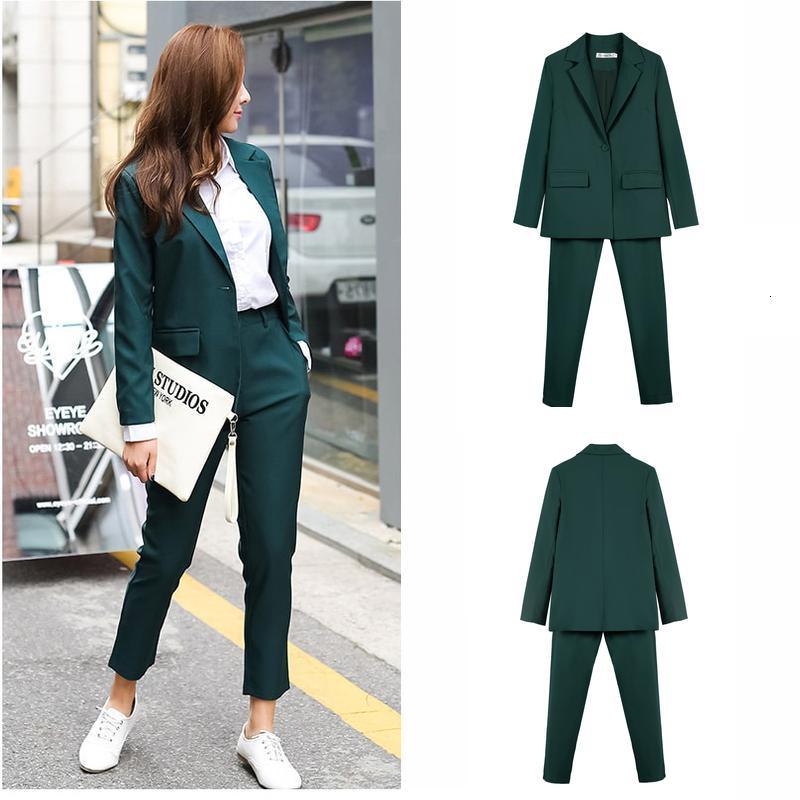 2021 Yeni Çalışma Suits OL 2 Parça Set Kadınlar Için İş Röportaj Üniforma Blazer Ve Kalem Pantolon Ofis Lady Hvno