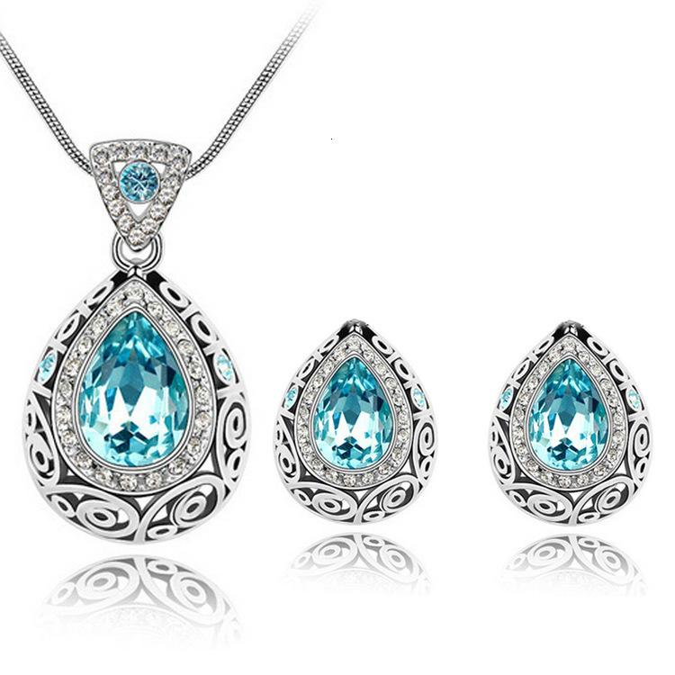 Taobao-Kristall-Ohrring-Halskette Set-4191-72 (Multi Color)
