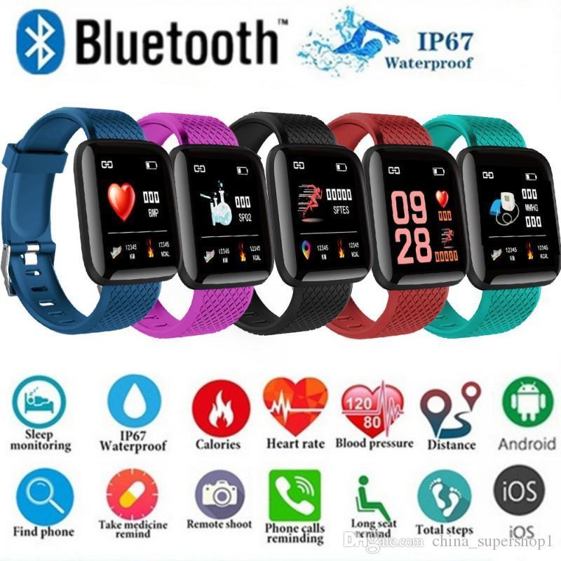 116 Plus Color Screen Smart Wristband Real-time Heart Rate Blood Pressure Sleep Waterproof Smart Wristband