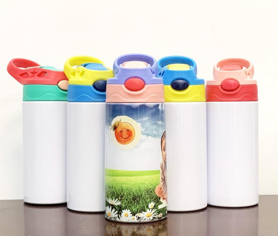 Sublimação Sippy Cup 12oz 350ml em branco garrafa de garrafa de garrafa bonito de aço inoxidável de aço inoxidável de aço inoxidável garrafas de água em massa segura para recipiente de criança criança atacado