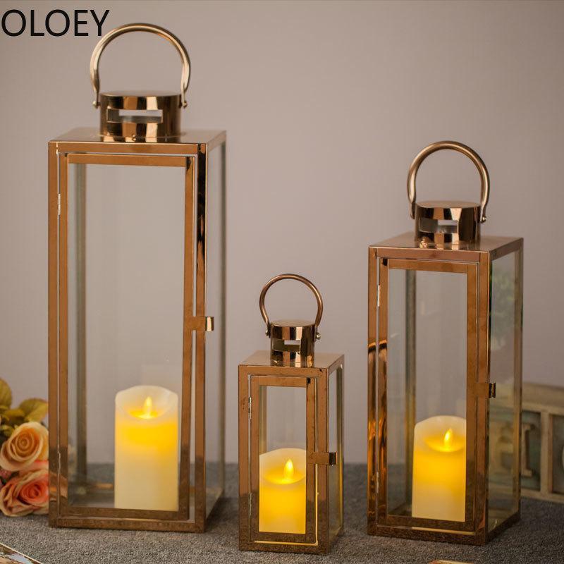 Kerzenhalter Nordic Gold Halter Metall Große Winddichte Windleuchte Hochzeit Mittelstücke Kerzenständer Kristall Candelabra Laterne