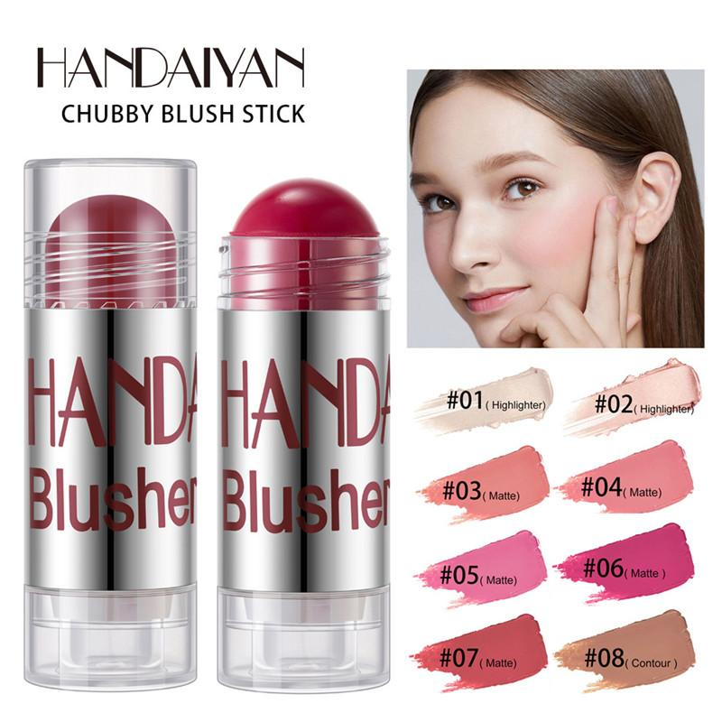HANDAIYAN 8 colors Small Fat Crayons Blush Sticks Slippery Rouge Blush Pencil Blush Cream Rouge Stick