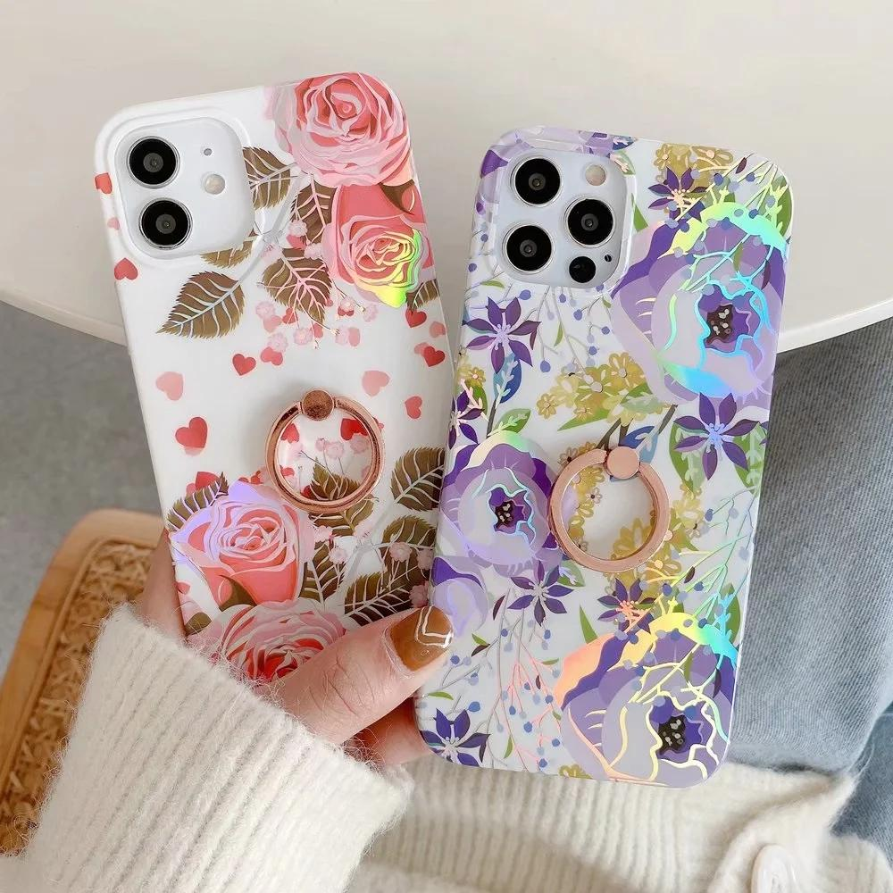 Fashion Laser Flower Spring Soft TPU Case For Iphone 12 Pro Max 11 XR XS MAX X 8 7 6 Chromed Summer Floral Holder Cover Metal Finger Ring