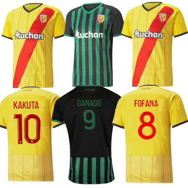 MALLOT عدسة RC Soccer Jerseys 21 22 Kakuta Ganago Sotoca Fofana Gradit Fortes Banza Cahuzac Doucouree 2021 2022 قمصان كرة القدم الرجال أطقم أطقم المنزل