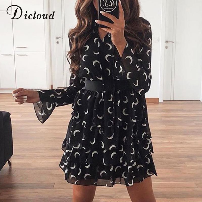 DiCloud Moon Print High шеи платье белый черный каскад рюшащий шифон мини-вечеринка платье линии с длинным рукавом одежда женщина 210303