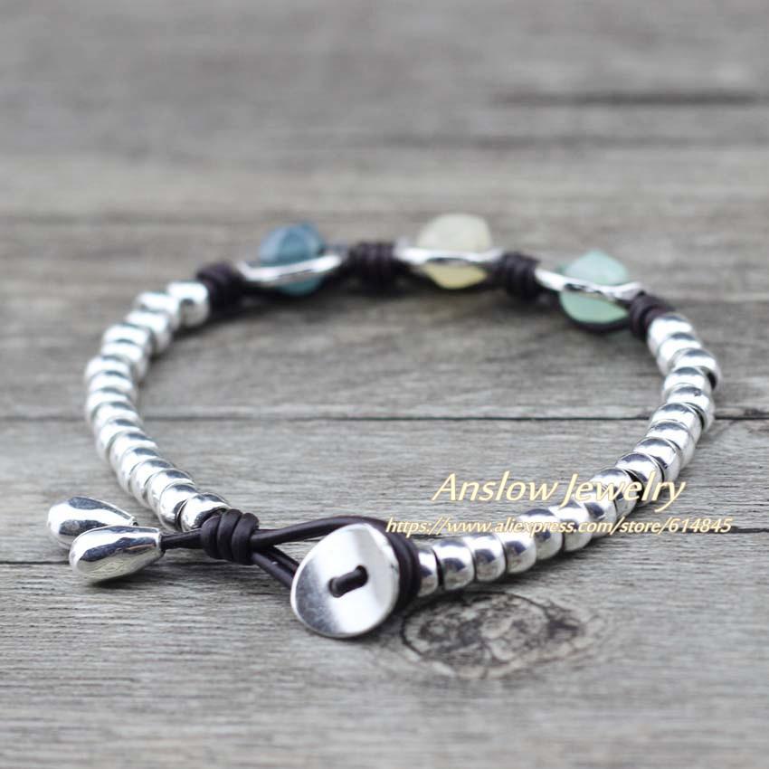 Anslow Brand New Fashion Jewelry Birthday Friendship Resin Leather Beaden Bricleten Bracelet For Women Kids Estudiantes Regalo Low0779LB