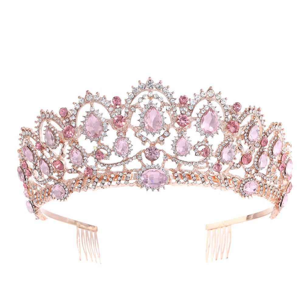 Gül Altın Pembe Vintage Barok Kraliçe Kral Saç Takı İnci Kristal Tiara Ve Tarak Kafa Bandı Gelin Rhinestone Diadem Ile