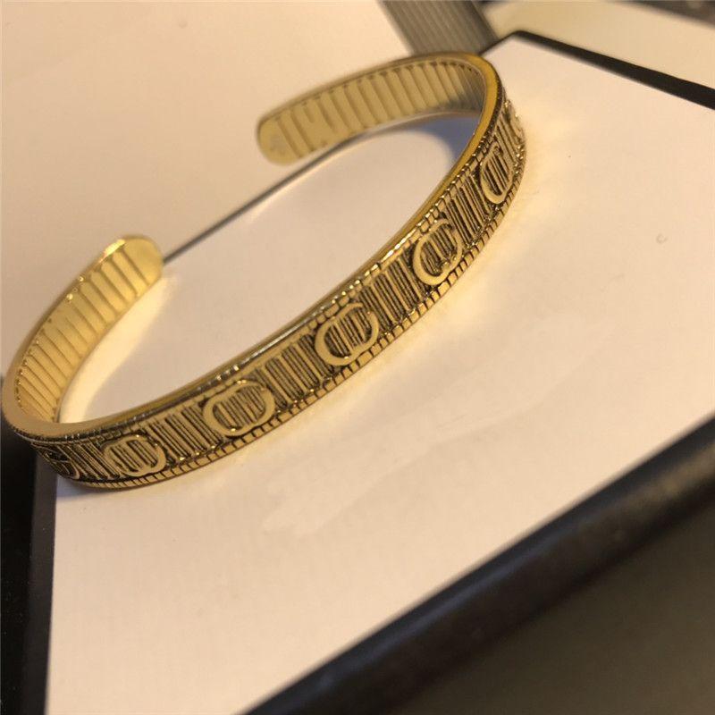 Braccialetti aperti del braccialetto delle donne del braccialetto dei braccialetti della lettere doppi dell'annata dei braccialetti per il regalo dei gioielli della ragazza con la scatola