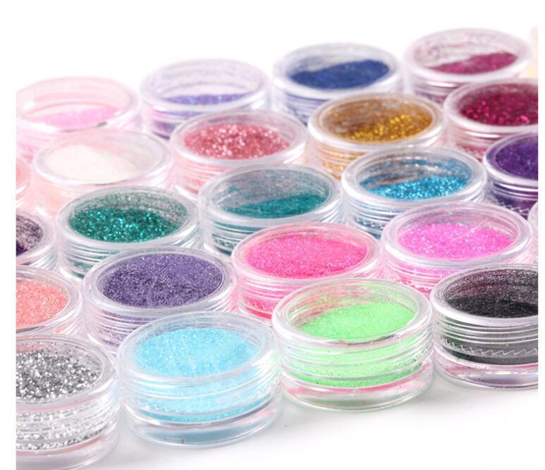 10Colors glitter acrílico pó pó para unhas art dicas conjunto de maquiagem polvilhe 3d plana compõem a cor