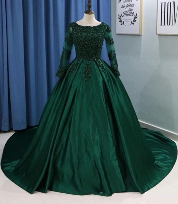 2021 Green Prom Dresses A Line Jewel Long Sleeve Sweep Train Formal Party Gowns With Lace Beads Satin
