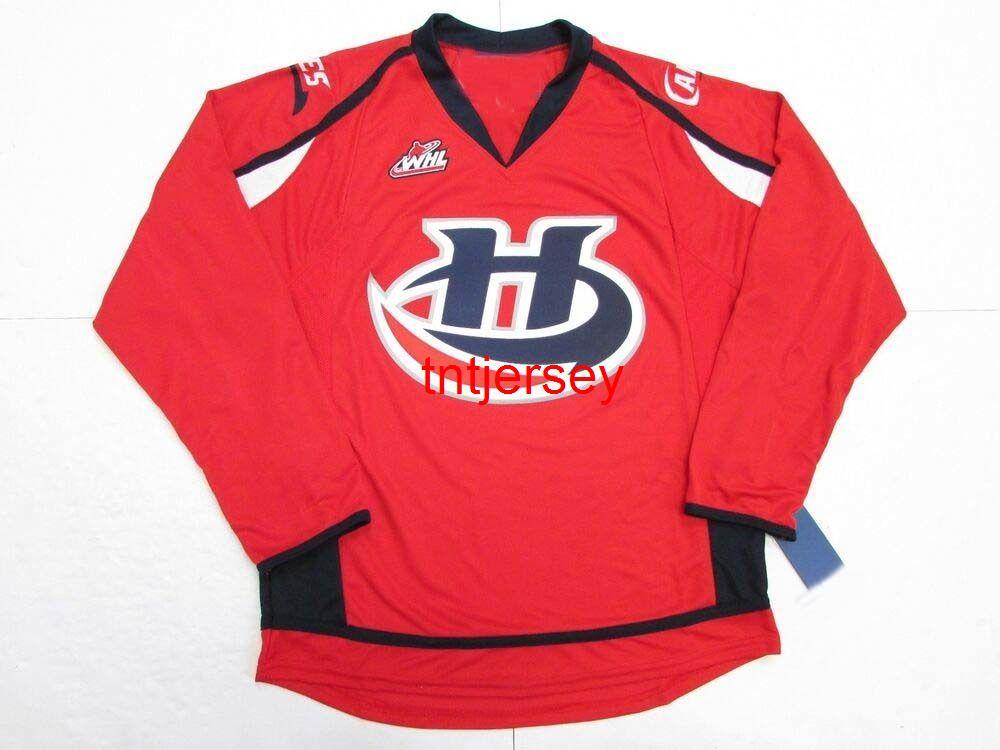 Dikişli Özel Lethbridge Kasırgaları Yeni Kırmızı WHL Hokey Jersey Herhangi bir isim ekleyin Erkek Çocuklar Jersey XS-5XL