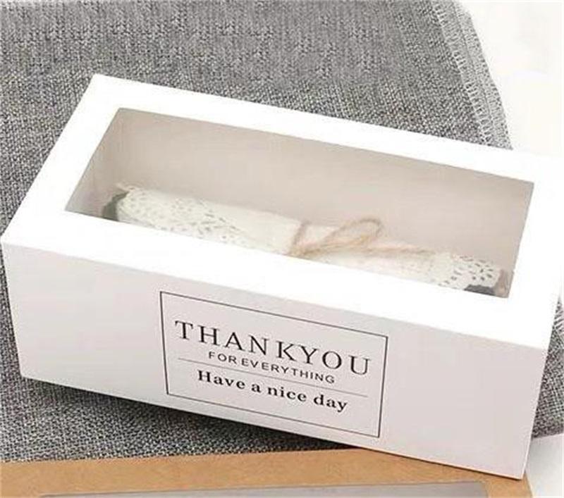 50 adet / grup Teşekkürler Hediye Kutuları Kraft Kağıt Beyaz Çekmece Şekli Kek Kağıt Kutusu ile Temizle Pencere Ekran Paketleme Fırın 204 S2