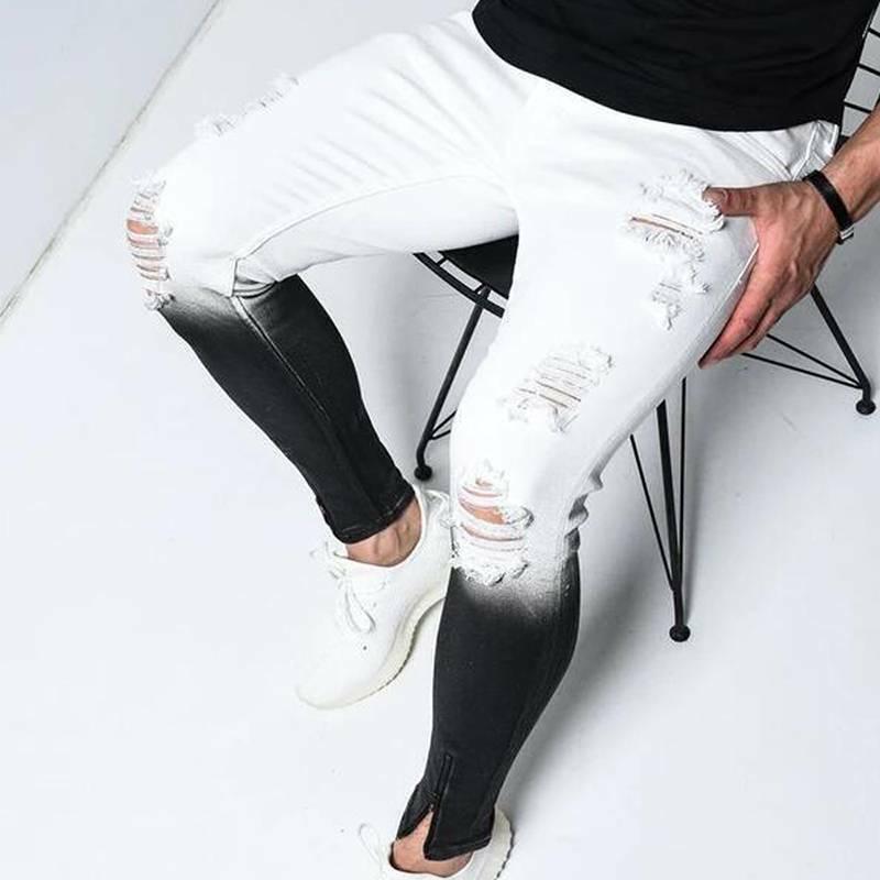 Jeans skinny Hommes Pantalons Couleur de gradient Hommes Vêtements Plus Taille Taille Hole déchiré Jeans Slim Fit Pantalon long Pantalon décontracté