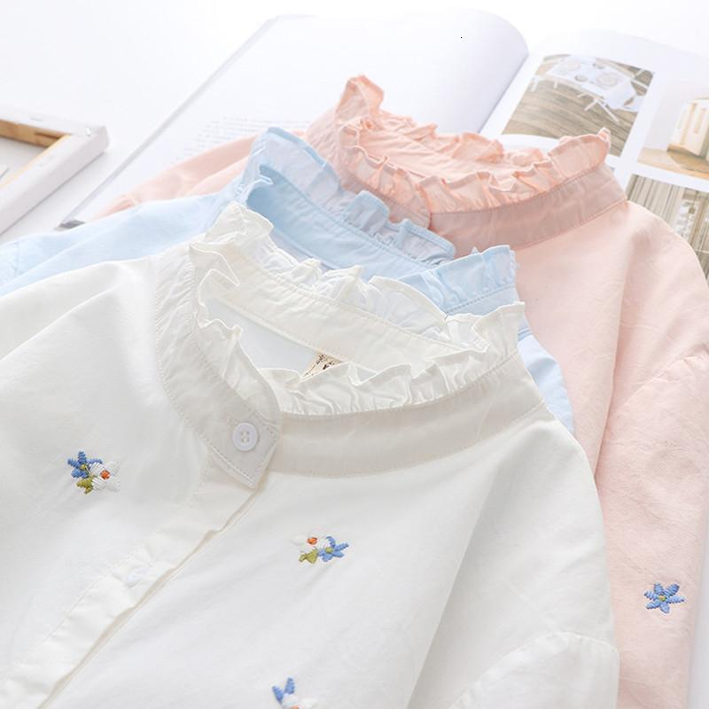 2021 New Embroidery Shirts Womens Blouses Stand Collar Long Sleeve White Blue Cotton Lady Tops Female Clothes Spring Autumn News 1lzf