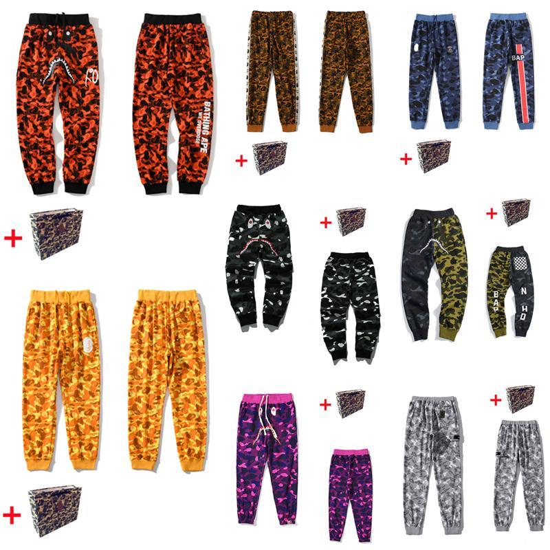 Мужские брюки, голова акулы, камуфляж карман, светящиеся звездные неба повседневные брюки, дамы пары досуг луча ног охранник брюки, отражающие цвет граффити шить 0102